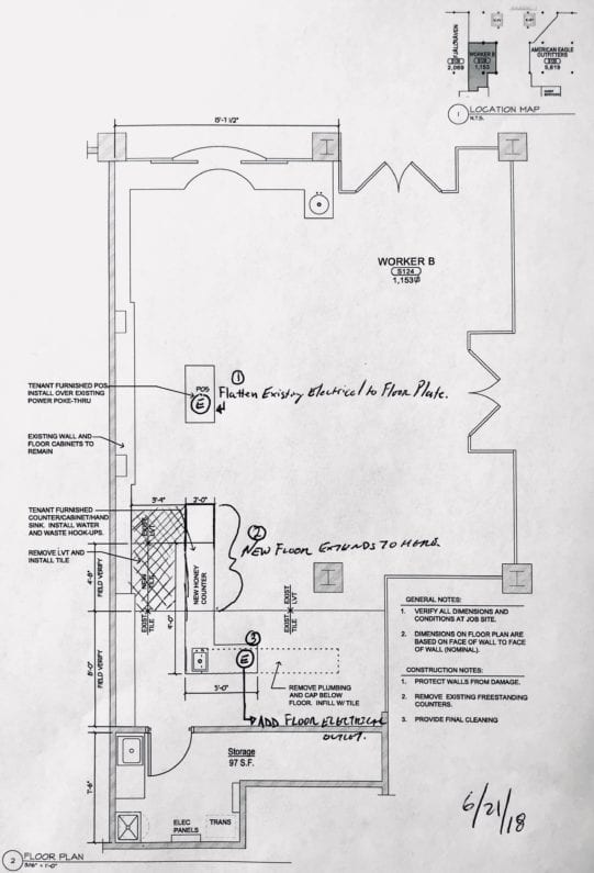 image of a blueprint for the renovations at the Mall Of America Worker B Store